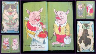 Five Little Pigs, A Linen Book. Saalfield's Publishing Company.New York, NY; Akron, OH; Chicago, IL.1910