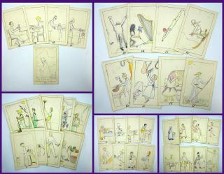 Hand Made Game of Old Maid - Gender Roles Occupations. ..c1940s