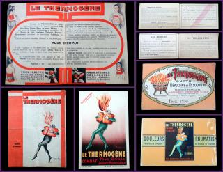 3 Promotional Items Le Thermogene: Capsicum Cotton wadding to treat  ailments. Le Thermogene.Paris.c1900