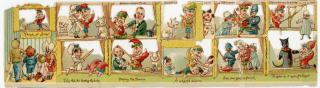 Punch and Judy Die Cut Embossed Die-cut Story Scrap. ..1890s