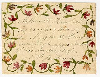 M. P. Stickney Watercolor Handmade Reward of Merit - Floral Vine Border Decoration for Nethaniel Kimball. ..c1850s