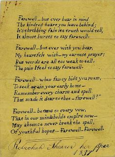 Rebeckah Shearer Farewell, an Original poem at the Departure of a Friend. ..1837