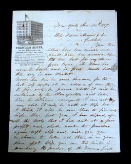 Frank Hiram Crosby Letter from a Commission Merchant regarding Wood and Flour on French's Hotel Letterhead. .New York.1859