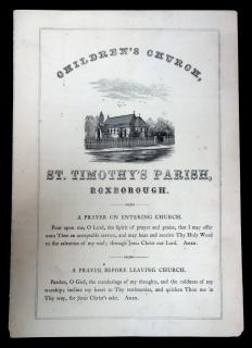 Children's Church, St. Timothy's Parish, Roxborough, A Hymnal Program. Rectory St. Timothy's Church.Philadelphia, PA.Feb 1867