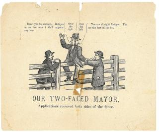 Our Two-Faced Mayor, A Political Satire Cartoon. ..1860