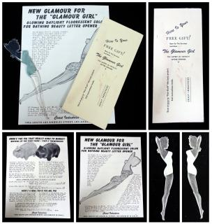 "New Glamour for The ""Glamour Girl"", a Glowing Daylight Fluorescent Color Bath Beauty Letter Opener. Coast Industries.Los Angeles, CA.1952"