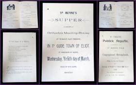 A Pair of Satirical Menus Written in Tongue-in-Cheek Olde English - Ye Grate Publick Repaste & Supper for Ye Menne Folk. .Eliot, Maine.1895-1896