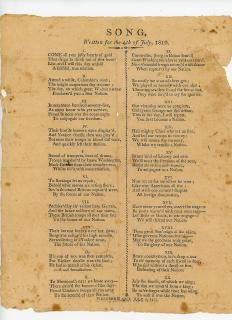 Song, written for the 4th of July, 1810, A Broadside Song Sheet. .Westermoreland, NH.July 10, 1810