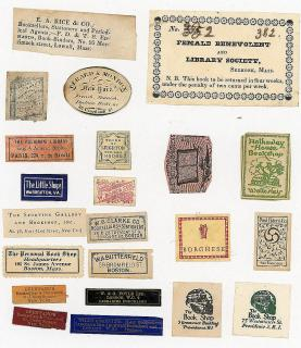 A Grouping of 22 Bookseller Labels/Tags from the 18th and 19th Centuries. ..[1825-1920]