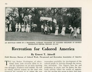 Ernest T. Attwell Recreation for the Colored America. The American City Magazine.New York, NY.9710