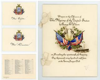 Menu Dinner to the Officers of The Pilgrims of the United States. Tiffany & Co. .New York, NY.1480