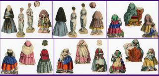 Scarce - The Virtuous Girl  with 2 Two-Sided Paper Dolls and 8 Costumes . H. F. Muller.Vienna Austria.1840-1850