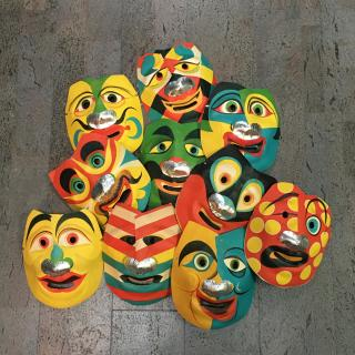 10 Different Molded paper Halloween Masks . .Japan.[1950]