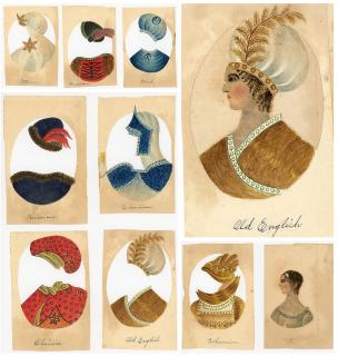 Handmade Pith Paper Woman with Overlay Costumes - 8 Nationalities. ..[1860s]