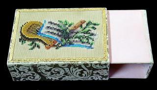 Decorative Beadwork on Victorian Playing Card Holder - Flute, Lyre, Music Book. ..