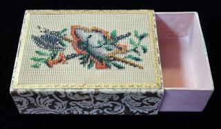 Decorative Beadwork on Victorian Playing Card Holder - Sword, Axe and Shield. ..
