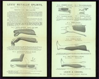 R. J. Levis, M. D. Handbill Advertisement for Levis Metallic Splints. Philadelphia, PA.[1890]