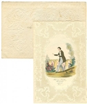 Fine Lace Paper Valentine with Light Stepping Gent Hand Colored Lithograph