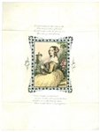 Color Lithograph Valentine with Watercolor Finishing - Lovely Lady in Rose Garden