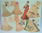 "9"" Late Victorian Newspaper Paper Doll with 9 Elaborate Handmade Costumes  c1903"
