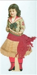 "7"" Dressed Victorian Scrap Paper Doll Sailor Girl with Pond Boat - Lace Paper Ruffles & Red Tissue Paper Sash c1890s"