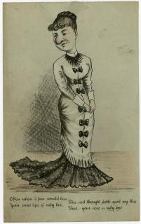 Caricature of reserved Miss with Bulbous Nose. ..1880s