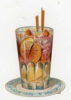 Trompe'loeil Victorian Die-cut Glass of Pink Lemon