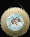 "9 ¾"" Decorative Edwardian Flue Cover w Angelic Cherubs in Clouds"