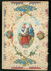 Small Mansell  Lace Paper Valentine with Blue Accented Dresden Adornments and Dresden Skep c1870s