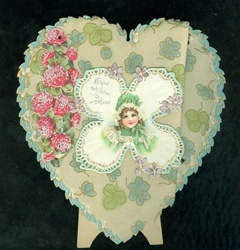 Heart Shaped Parchment and Rivet Art Nouveau Valentine w Clover Flowers & Brundage Image