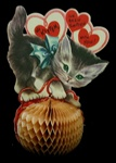 Valentine w Kitten Stands on Honeycomb Ball of Yarn 7""
