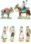 Set of 5 Die-cut Alpine Figures with Horse & Donkey Decorated for a Festival c1900