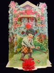 Colorful Valentine Card With Boy Playing Golf