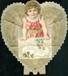 Art Nouveau Style - Young Girl Holding Big Valentine Card