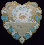 Heart Shaped Art Nouveau Valentine with Nesting Birds