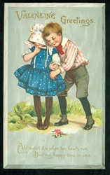 Tuck - Valentine Greetings from Boy to Shy Girl in Blue Poke-a-dot Dress  Frances Brundage