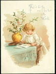Young Girl Writing a Letter For the One I Love Best in the World - 1887 L. Prang & Co.