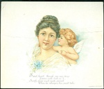 Cupid with Wings Whispering into a Woman's Ear - L. Prang & Co.