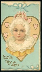 Colonial Girl Surrounded by Pink Hearts and Blue Ribbon