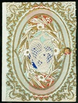 Gold Enhanced Valentine with Lace Paper Heart Surrounding Cupid