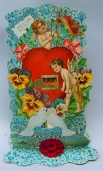 Cherubs, White Doves, Broken Arrows, and Lots of Forget-Me-Nots Fold-down Valentine with Red Honeycomb