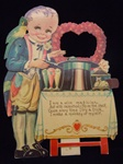 Mechanical Valentine Magician with Parrot is trying a Trick with Monkey and Mice