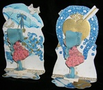 Two Sun Bonnet Baby Valentines that Fold Down with Flaming Pierced Heart & Good Luck Horse Shoe; Sun Parasol
