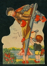 Mechanical Fly Boy Valentine Holding Hearts in Sky above Waiving Kids