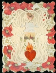 Big Red Poppies, Flaming Heart, and Cupid - Art Nouveau Style