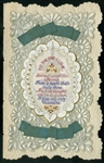 Cloth Image of Stitched Verse, 'To the One I Love' with Green Ribbon