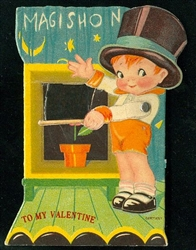 Magic Show - Small Boy Wearing Top Hat Presenting a Magic Valentine Trick
