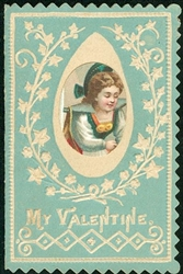 Tiny Valentine Card – Applied Scrap Dutch Girl, 'I Will Be Ever Ever True.'