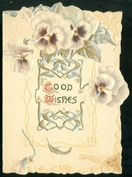 "Tuck Valentine - Pansies with Silver and Gold Embellished Leaves and ""Good Wishes.""."