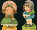 Valentine -Two Mechanical Bonnet Girls with Dresses, Bowes and Secret Messages